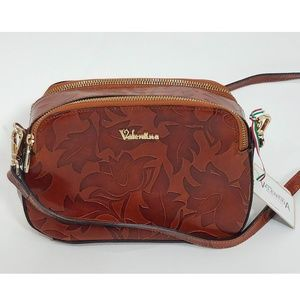 New Valentina Brown Leather Floral Embossed Purse